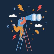 Vector Illustration Of Man Standing At Ladder Looking Forward Through Binoculars Observing Over Dark Backround.