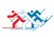 Cross-country Skier. Abstract Stylized Colorful Symbol Of Three Skiers.  Vector Available