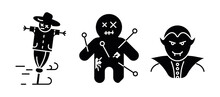 Vampire, Cursed Doll And Harvest Scarecrow Icon Set. Set For Halloween Concept. Set Of Silhouette Icons.