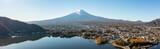 Fototapeta Nowy Jork - Aerial view of Lake Kawaguchi and Mount Fuji, Yamanashi Prefecture, Japan