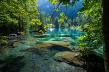 Un Lac Bordé D'arbres Avec Une Eau Bleu Et Transparente Avec Des Rochers Au Fond