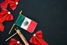 Mexican Flag On Black Background With Folklore Decoration. 15 September.
