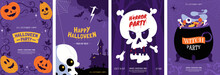 Happy Halloween Greeting Card Collection. Halloween Posters Design With Different Scary Illustrations - Carved Pumpkin, Witch Cauldron, Skulls. Ideal For Event Invitation, Social Media, Banner.