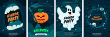 Happy Halloween Greeting Card Collection. Halloween Posters Design With Different Scary Illustrations. Ideal For Event Invitation, Party Flyer, Social Media Post, Banner. Vector Eps 10