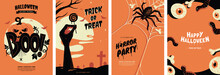 Halloween Posters Collection With Different Scary Illustrations In Orange And Black Colours. Creepy Halloween Greeting Card Design In A4 Size. Ideal For Party Invitation, Event, Social Media, Banner.