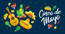 Cinco De Mayo Mexican Celebration Poster In Flat Style, Vector Illustration.
