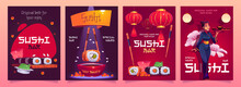 Vector Set Of Sushi Bar Flyers With Japanese Food
