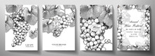 Wine Set (collection). Grape Bunch (vine) With Leaves On Background. Black And White Vintage Vector Illustration For Wine Products, Catalog Or Label Design Template, Wine List, Restaurant