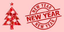 Textured New Year Stamp Seal, And Red Love Heart Collage For New Year Tree. Red Round Stamp Seal Includes New Year Caption Inside Circle. New Year Tree Mosaic Is Formed From Red Dating Elements.