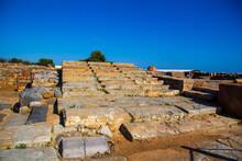 Ruins Of The Minoan Palace In Malia. Ancient Steps. Malia Palace Archaeological Site, Greece, Crete Island