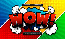 Comic Wow Editable Text Effect Suitable For Cartoon Style Concept