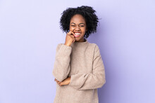Young African American Woman Isolated On Purple Background Nervous And Scared