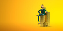 Copy Space Background Of 3d Character With Coins