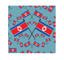 Vector Illustration Of Pattern North Korea Flags And Blue Color Background.