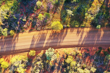 Aerial Drone Landscape View Of An Empty Australian Outback Dirt Road