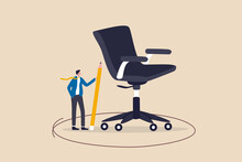 Work Boundary, Comfort Zone Or Scope Of Work, Set Up Assignment Or Management Authority Concept, Smart Businessman Drawing Circle Around His Office Chair.