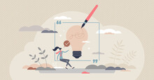 Writing Inspiration And Creative Content Imagination Tiny Person Concept. Artist With Muse To Write Innovative Story Or Literature Work Vector Illustration. Thoughtful Novel Or Journalism Creation.
