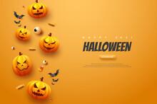 Halloween Pumpkin Orange Background Illustration