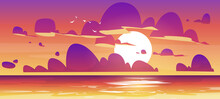 Sunset In Ocean, Nature Landscape Background, Pink And Purple Fluffy Clouds In Orange Sky With Sun Shining Above Tranquil Sea Water Surface, Illuminated Shore Evening View. Cartoon Vector Illustration
