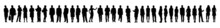 Vector Silhouettes Of Men And A Women, A Group Of Standing And Walking Business People, Black Color Isolated On White Background. Set Of People Silhouettes.
