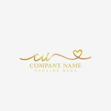 CU Beauty Initial Handwriting Monogram Logo Design Template
