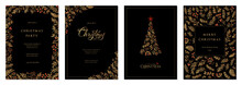Merry Christmas And Happy Holidays Cards With New Year Tree, Floral Frames And Backgrounds Design. Modern Versatile Artistic Templates.