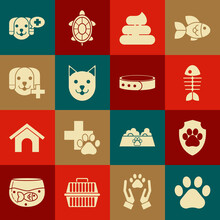Set Paw Print, Animal Health Insurance, Fish Skeleton, Shit, Cat, Veterinary Clinic Symbol, And Collar With Name Tag Icon. Vector