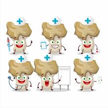 Doctor Profession Emoticon With Hedgehog Mushroom Cartoon Character