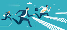Overcoming Business Obstacles. Workers Jump Over Rising Obstacles Like Hurdle Race. Business Vector Illustration