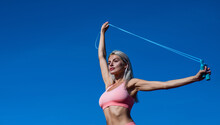 Work Hard Play Hard. Coach Use Skipping Rope. Sport Success. Tool For Jumping. Fitness Sport Fashion