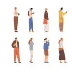 Set of people standing and walking with mobile phones and coffee cups in hands. Side view of man and woman stopped for looking at smartphone outdoors. Flat vector illustration isolated on white