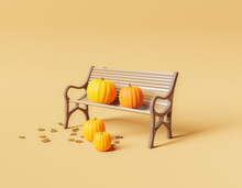 Minimal Park Bench With Pumpkins