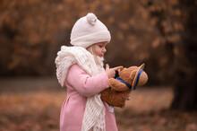 Girl, Garden, Pink Coat, Soft Toy
