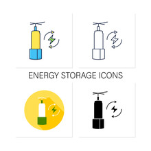 Energy Storage Icons Set. Long-duration Energy Warehouse. Manage Power. Electricity Concept. Collection Of Icons In Linear, Filled, Color Styles.Isolated Vector Illustrations