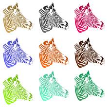 Zebra Head Icon Vector Illustration. Zebra Head Silhouette Isolated On A White Background