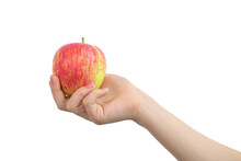 Red Apple In Hand, Isolated On A White Background Photo
