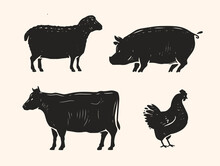 Set Of Animals For The Butcher Shop. Cow, Pig, Chicken And Lamb Symbol Or Icon. Farm Animals Vector Illustration