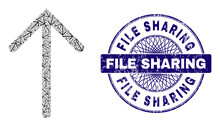 Recursive Collage Arrow Up And File Sharing Round Rubber Stamp Seal. Violet Seal Includes File Sharing Tag Inside Circle And Guilloche Style.