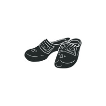 Holland Clogs Icon Silhouette Illustration. Traditional Clothes Vector Graphic Pictogram Symbol Clip Art. Doodle Sketch Black Sign.