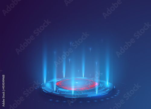 Fantastic Circle portals magic, holograms teleport gadgets. Light effect with blue beam and glowing particles. Isolated circles and luminous rays. projector, magic portal, circle teleport podium
