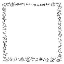 ハロウィンのフレーム 手描き 正方形 線画