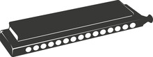 Black Flat Silhouette Of A Harmonica For Music.