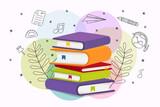 Colorful school book pile education cartoon