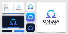 Illustration Omega Digital Symbol, Sign Design. Design Inspiration Business Card And Icon App