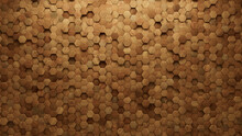 Natural Tiles Arranged To Create A Hexagonal Wall. Wood, Soft Sheen Background Formed From 3D Blocks. 3D Render