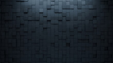 Black Tiles Arranged To Create A Futuristic Wall. 3D, Semigloss Background Formed From Square Blocks. 3D Render
