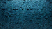 Blue Patina Tiles Arranged To Create A Square Wall. 3D, Glazed Background Formed From Textured Blocks. 3D Render