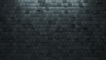 3D Tiles Arranged To Create A Concrete Wall. Semigloss, Futuristic Background Formed From Square Blocks. 3D Render