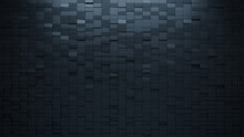 Black Tiles Arranged To Create A Rectangular Wall. Semigloss, 3D Background Formed From Futuristic Blocks. 3D Render