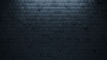 3D Tiles Arranged To Create A Black Wall. Semigloss, Futuristic Background Formed From Square Blocks. 3D Render